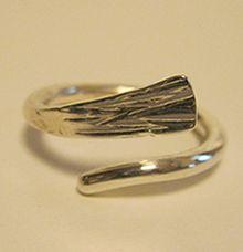 Smeed Ring Blad Eerste Gehalte Zilver